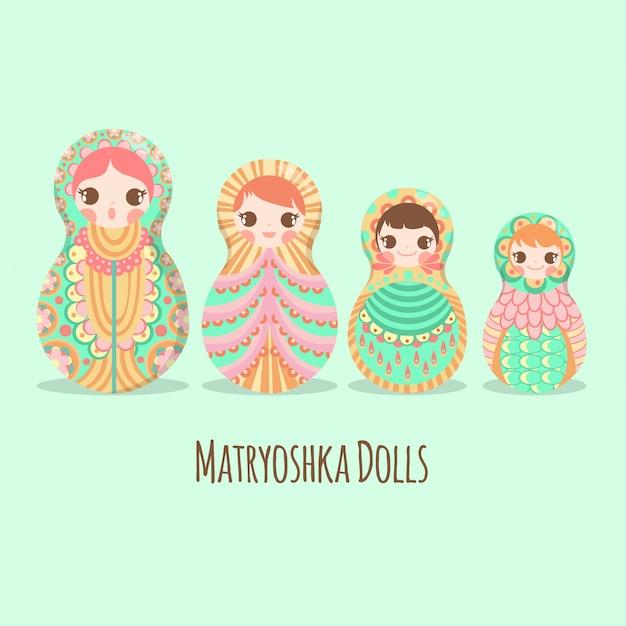 Russian art doll matryoshka russe Vecteur Premium