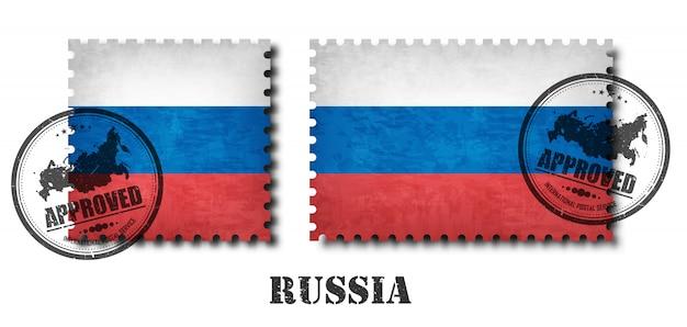 Russie ou drapeau russe modèle timbre-poste Vecteur Premium