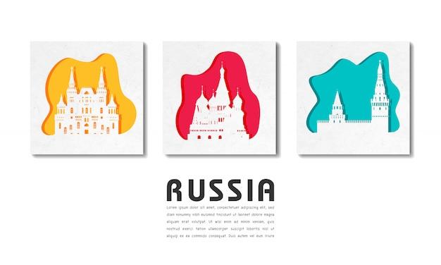 Russie landmark global travel and journey en papier découpé Vecteur Premium