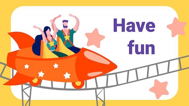 S'amuser en rollercoaster advertising Vecteur Premium