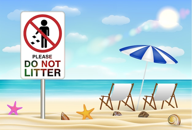 S'il vous plaît ne pas jeter des signes sur la plage de sable de mer Vecteur Premium
