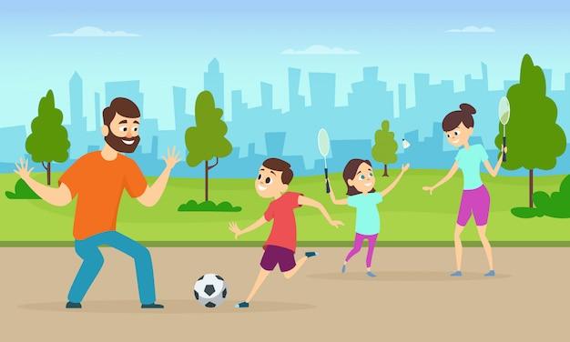 S De Parents Actifs Jouant à Des Jeux Sportifs Dans Un Parc Urbain Vecteur Premium