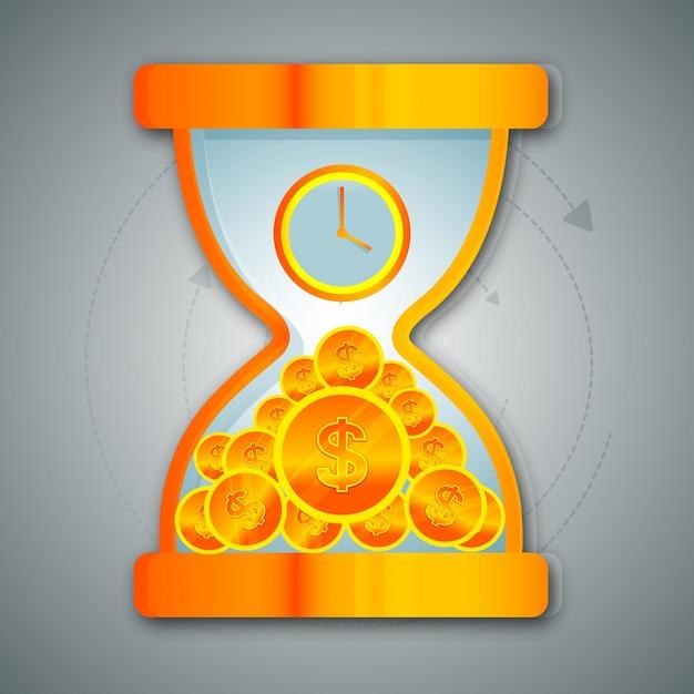 Le sablier brillant avec l'horloge et les pièces en dollars pour les entreprises, le concept de temps est l'argent. Vecteur gratuit