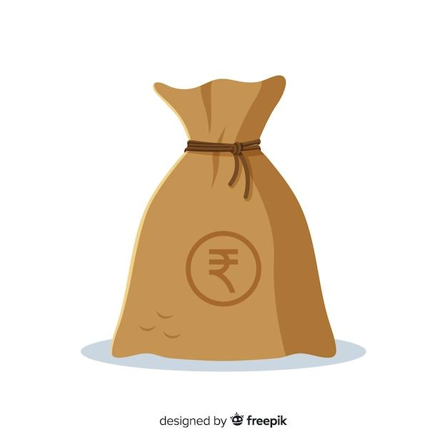 Sac d'argent en roupie indienne Vecteur gratuit