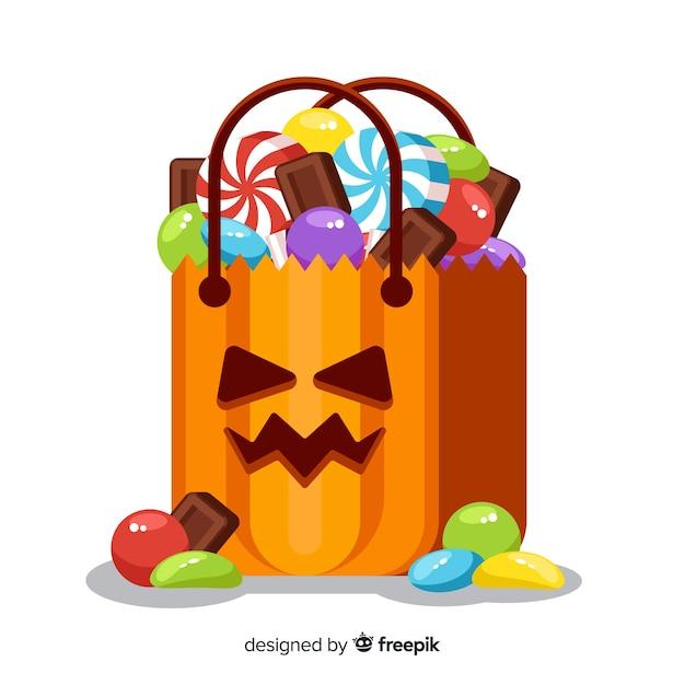 Sac avec des bonbons d'halloween Vecteur gratuit