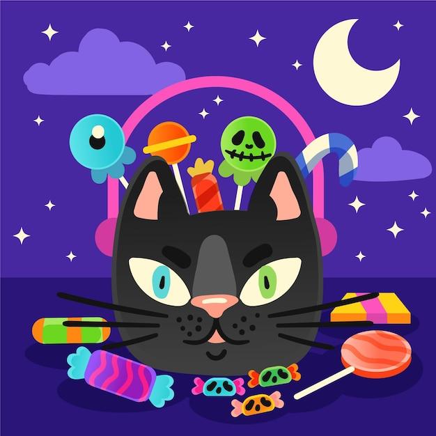 Sac De Chat Halloween Style Dessiné à La Main Vecteur gratuit