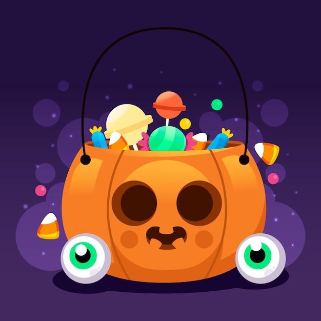 Sac Citrouille D'halloween Design Plat Vecteur gratuit