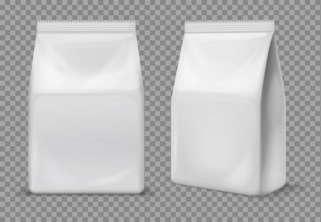 Sac De Collation En Papier. Sachet Blanc Alimentaire Vierge, Emballage. Paquet De Feuille De Vecteur 3d Vecteur Premium
