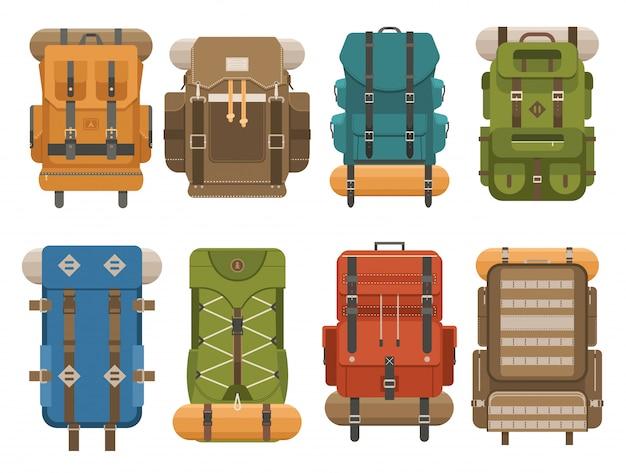 Sac à Dos De Camping Coloré Au Design Plat. Illustration Vectorielle De Sacs à Dos Rétro Touristiques. Vecteur Premium