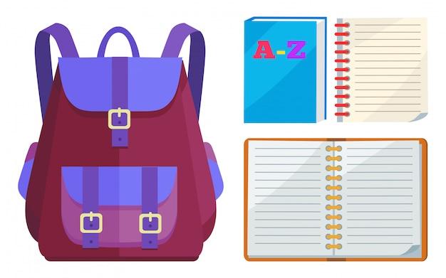 Sac à dos pour enfants avec le cahier abc open Vecteur Premium