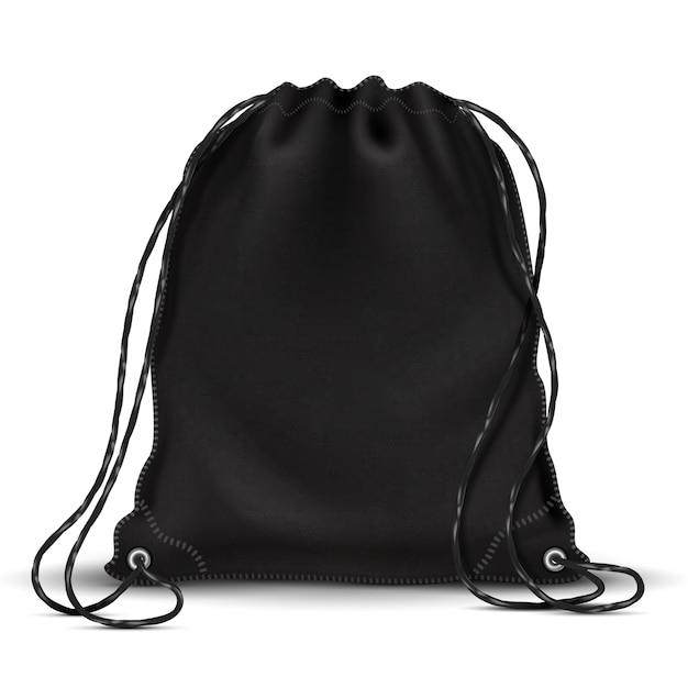 Sac à dos de sport, sac à dos avec cordons Vecteur Premium