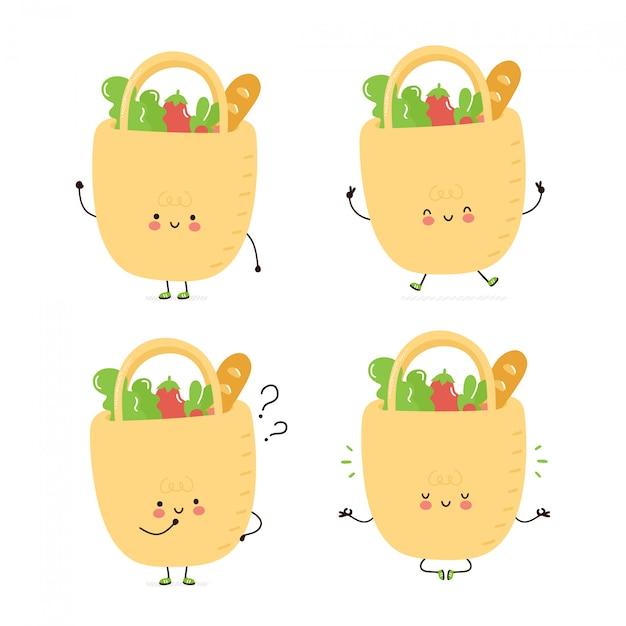 Sac eco heureux mignon avec la collection de jeux de caractères de nourriture. isolé sur blanc conception de dessin vectoriel personnage illustration, style plat simple. sac écologique marche, forme, pense, médite Vecteur Premium