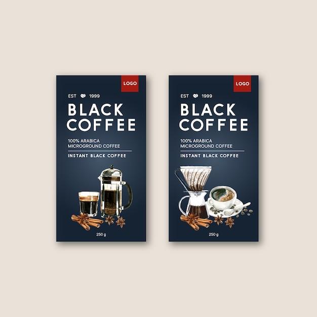 Sac d'emballage de café avec tasse à café americano ,, illustration aquarelle Vecteur gratuit