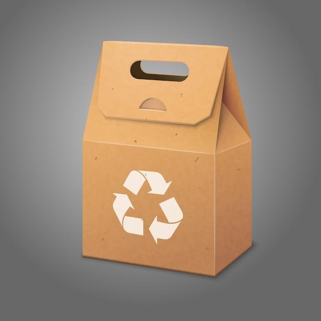 Sac D'emballage En Papier Vierge Avec Poignée Et Emplacement Pour Votre Conception Et Votre Image De Marque Avec Signe De Recyclage. Vecteur Premium