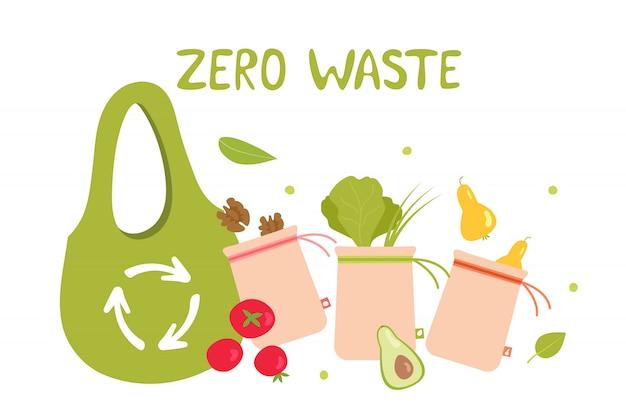 Sac d'épicerie écologique sans déchets Vecteur Premium