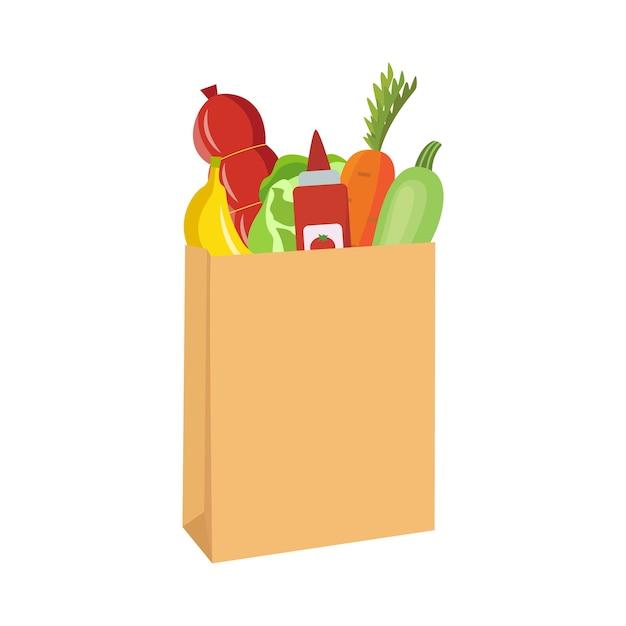 Sac D'épicerie En Papier Brun Rempli De Légumes Et D'autres Aliments - Sac  à Provisions De Dessin Animé Avec Carotte, Banane, Salami Et Autres  Produits D'épicerie. Illustration. | Vecteur Premium