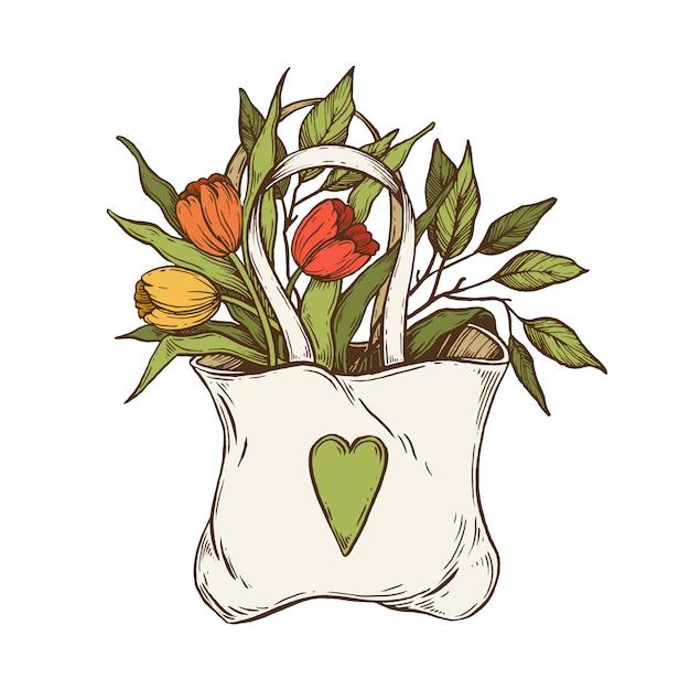 Sac avec des fleurs. Vecteur Premium