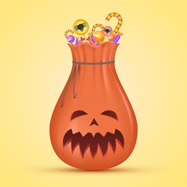 Sac D'halloween Au Design Réaliste Vecteur gratuit