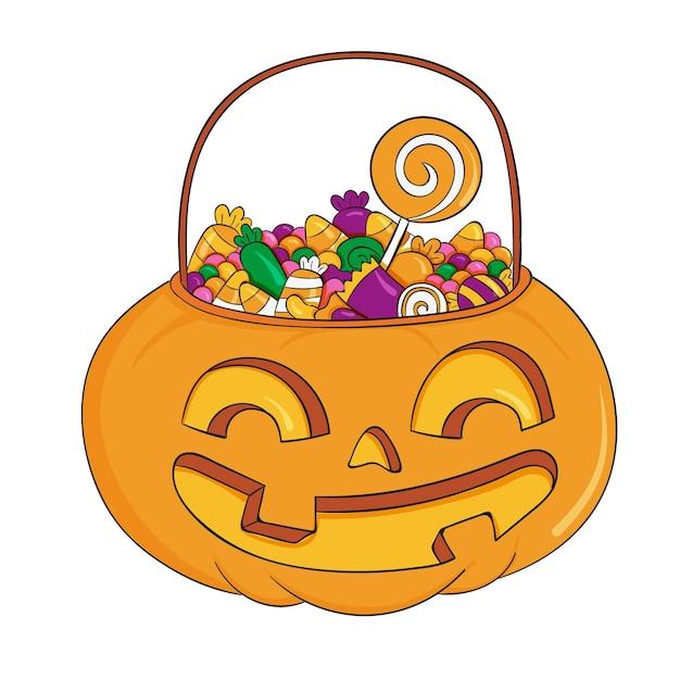 Sac D'halloween Dessiné à La Main Vecteur gratuit