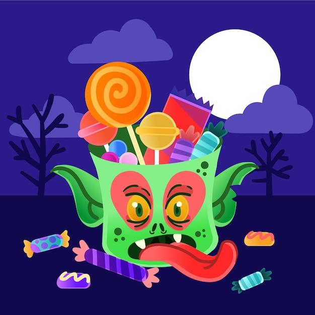 Sac De Monstre Halloween Style Dessiné à La Main Vecteur Premium