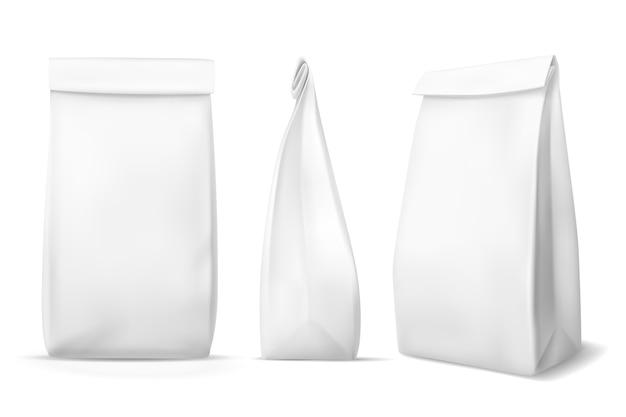 Sac De Nourriture En Papier Blanc. Vecteur Premium