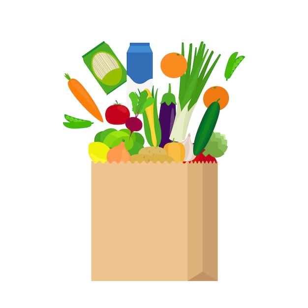 Sac en papier avec des aliments frais Vecteur Premium