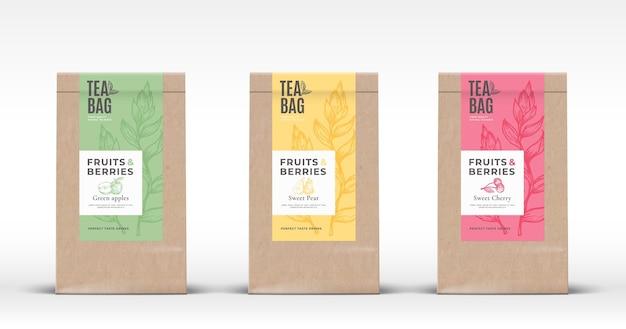 Sac En Papier Artisanal Avec Ensemble D'étiquettes De Thé Aux Fruits Et Baies. Vecteur Premium
