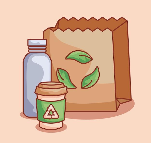 Sac en papier et bouteilles écologiques Vecteur Premium