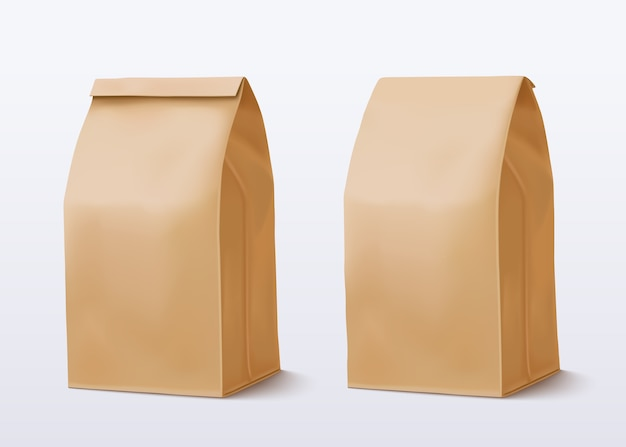 Sac En Papier Sur Fond Blanc. Sac à Provisions Marron. Paquet De Deux Métiers. Vecteur Premium