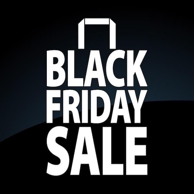 Sac en papier noir vendredi. Vecteur Premium