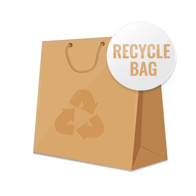 Sac en papier recyclé marron. Vecteur Premium