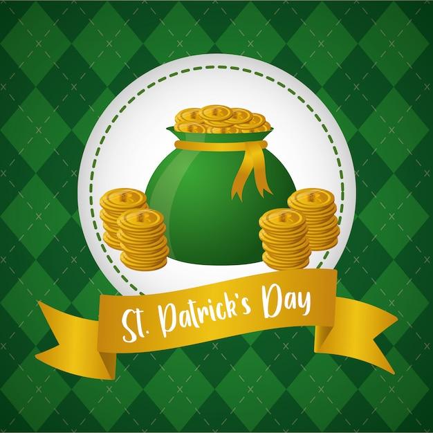 Sac de pièces de monnaie vert, étiquette sur la carte de voeux verte, happy st patricks day Vecteur gratuit