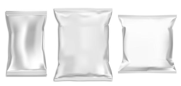 Sac Plastique. Pack Collation En Aluminium. Paquet De Nourriture. Pochette De Pâtes Isolée Pour La Publicité. Vecteur Premium
