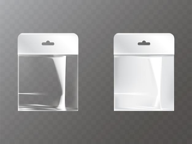 Sac de plastique ou de papier ziplock refermable transparent et blanc avec l'étiquette d'étiquette de trou de hang Vecteur gratuit