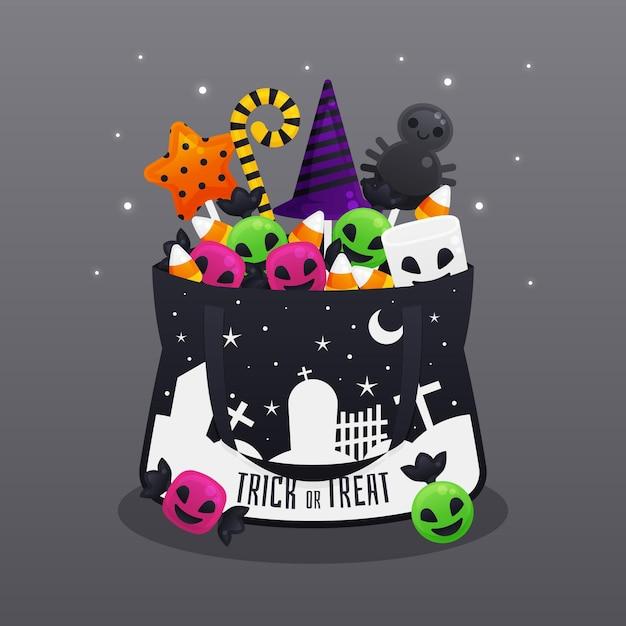 Sac Plat D'halloween Avec Des Bonbons Vecteur gratuit