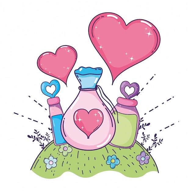Sac de potion de poudre d'amour et bouteilles Vecteur Premium