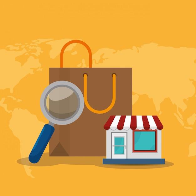 Sac à provisions avec des icônes de commerce électronique Vecteur gratuit