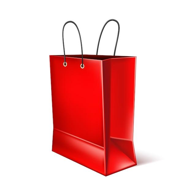 Sac à Provisions Rouge Réaliste De Vecteur Vecteur Premium