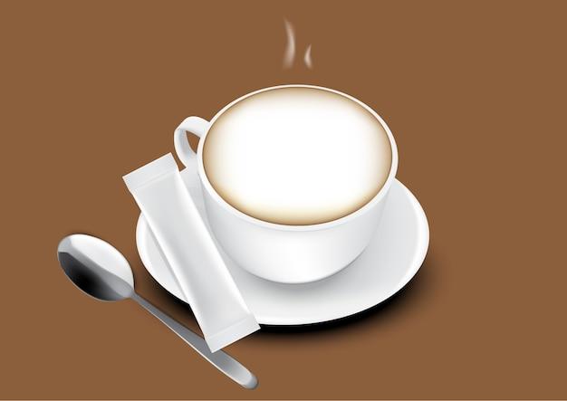 Sac De Sachet De Bâton Brillant 3d Et Illustration De Tasse De Café. Vecteur Premium