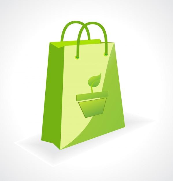 Sac vert vecteur avec symbole écologique Vecteur gratuit