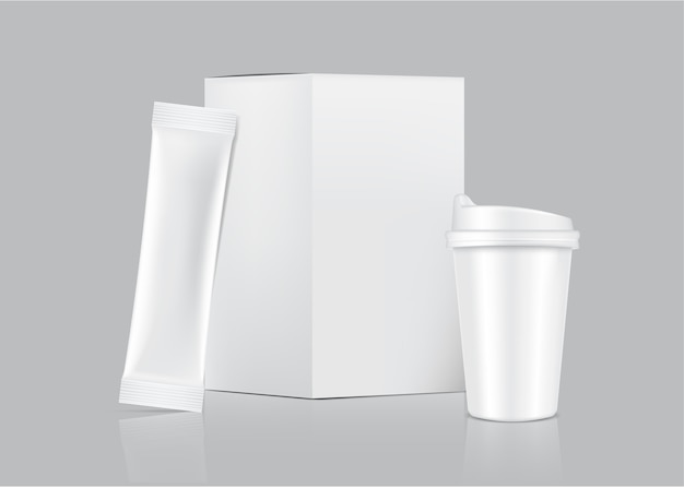 Sachet 3d Glossy Stick Et Tasse Avec Boîte En Papier Isolé Sur Fond Blanc. Conception De Concept D'emballage Alimentaire Et Boisson. Vecteur Premium