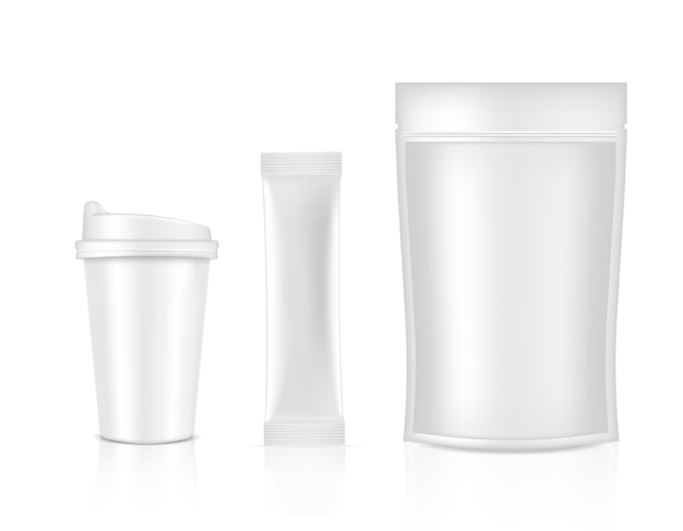 Sachet De Bâton Brillant Et Tasse Isolé Sur Fond Blanc. Illustration. Concept D'emballage Alimentaire Et Boisson. Vecteur Premium