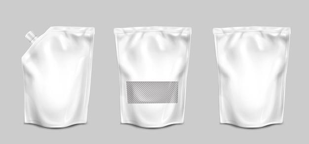 Sacs En Aluminium Avec Buse Et Surface Transparente Vue De Face Vecteur gratuit