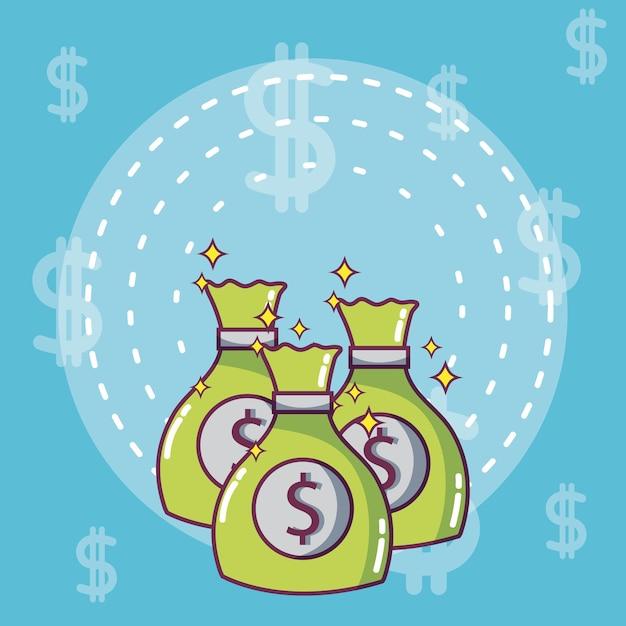 Sacs d'argent et des économies vector illustration design graphique Vecteur Premium