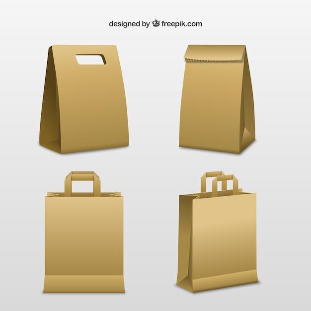 Sacs de carton Vecteur gratuit