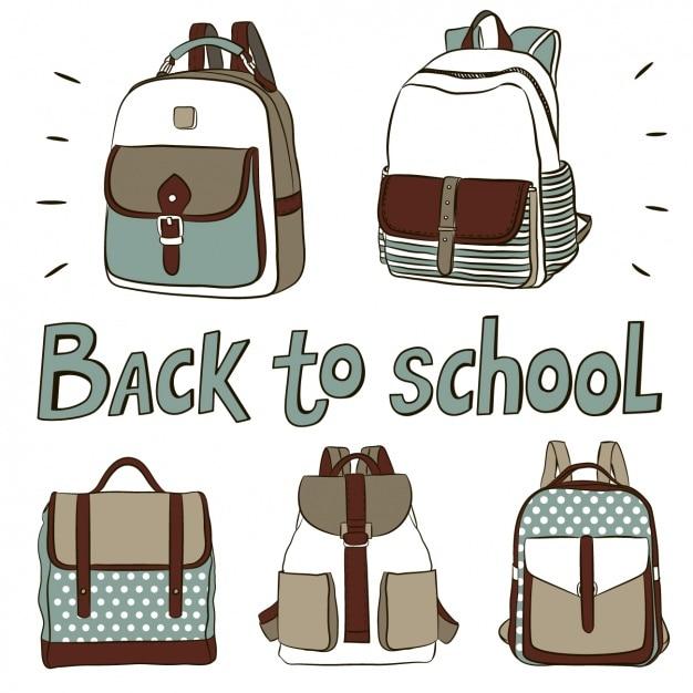 Sacs à dos mignons pour retourner à l'école Vecteur gratuit