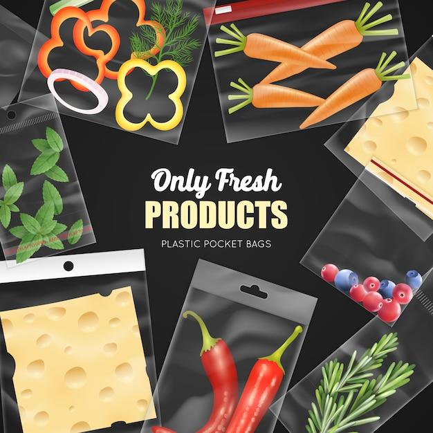 Sacs de poche en plastique transparent pour l'emballage, produits frais sur illustration vectorielle réaliste de fond noir Vecteur gratuit