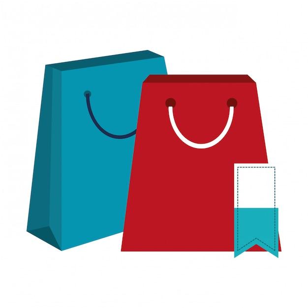 Sacs à provisions et étiquette Vecteur Premium