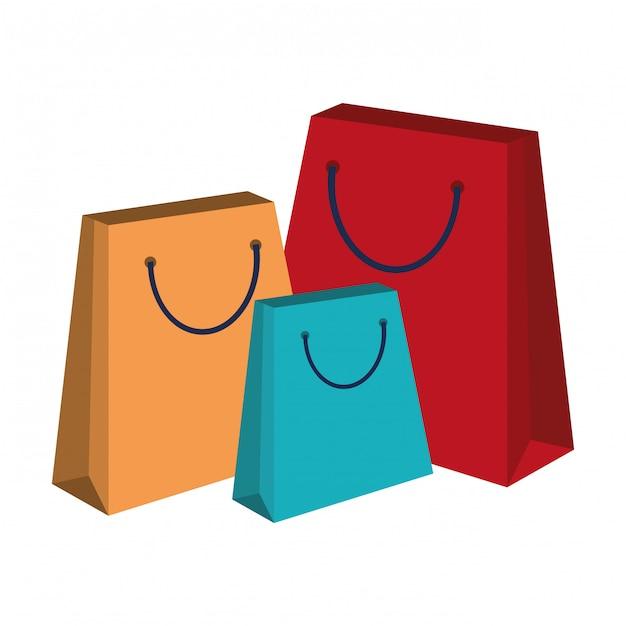 Sacs à provisions isolés Vecteur Premium