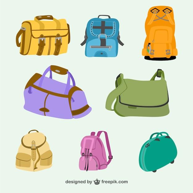 Sacs et sacs à dos vector collection Vecteur gratuit